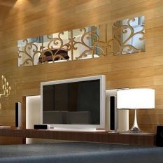 Toprank Rumah Modern DIY 3D Cermin Akrilik Stiker Dinding Mural Dekorasi Ruangan Dapat Dilepas-Internasional