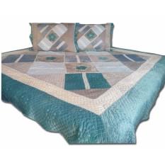 Tren-D-home - Bed Cover Patchwork Quilt Bludru 230 cm x 250 cm + 2 Pcs Sarung Bantal 57 cm x 78 cm  - Biru - NMs