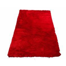 Tren-D-rugs - Karpet Permadani Kamar Tidur / Ruang Tamu Bulu Tebal Shaggy Polos 100 cm x 150 cm Merah - NMs