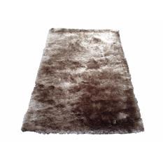 Tren-D-rugs - Karpet Permadani Kamar Tidur / Ruang Tamu Bulu Tebal Shaggy Polos 150 cm x 200 cm Coklat Tua - NMs