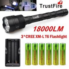 TrustFire 3X CREE XML T6 18000LM LED Senter Obor + 6X18650 Baterai + Charger-Intl