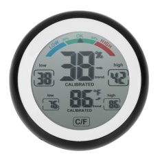 TS-S93 Round LCD Touchscreen Thermometer Humidity Monitor Hygrometer(Black)