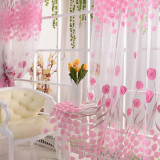Tulip Flower Floral Tulle Voile Window Curtain Drape Sheer Decor Fabric Transparent Sheer Living Room Screening Home Decoration 200X100Cm Tiongkok Diskon