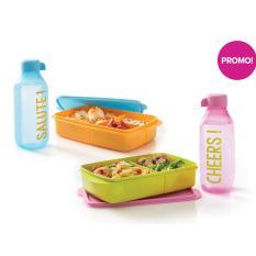 Jual Tupperware Cupid Duo Set Mealbox Dan Bottle Blue Dan Pink Lengkap