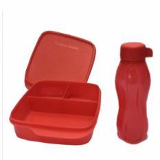 Tupperware Lunch Box set Glittery Eco Lolly 2pcs/set Merah