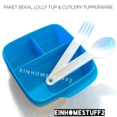 Tupperware Paket Bekal Tempat Makan Bersekat Lolly Tup & Sendok Garpu Cutlery