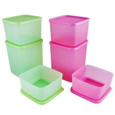 Jual Tupperware Summer Fun Collection 6 Pcs Pink Hijau Import