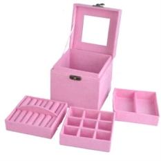 U03 Velvet Perhiasan Penyimpanan Kotak Anting-Anting Kalung Cincin Gelang Etalase Agenda Pink-Intl