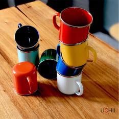 Uchii Paket Gelas Enamel Magu Solid Color Vintage Mug [4 Pcs]