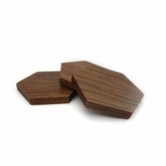 Uchii Tatakan Gelas Kayu Jati Hexagonal Teak Wood Coaster 3pcs