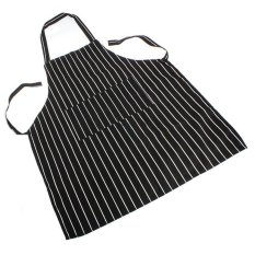 UJS Durable Black Stripe Apron with 2 Pockets Chef Kitchen Resturant Necessary