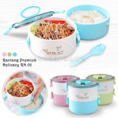 Ultimate Rantang Bento Premiun 2in1/lunch Box/tempat Makan Tenteng 2 Susun Hl Rn-02 - Blue By Indo Ultimate.