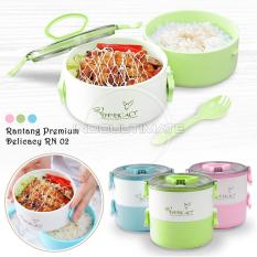 Ultimate Rantang Bento Premiun 2in1/lunch Box/tempat Makan Tenteng 2 Susun Hl Rn-02 - Green By Indo Ultimate.