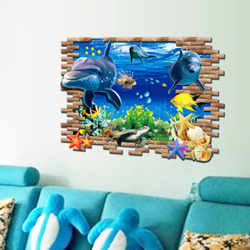 Underwater World Dolphins Wall Decal PVC Rumah Sticker Rumah Vinyl Dekorasi Kertas WallPaper Ruang Tamu Kamar Tidur Dapur Gambar Seni DIY Murals Girls Boys Kids Nursery Baby Playroom Decor