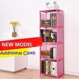Spesifikasi Kinbar Rak Buku 5 Lapis 4 Susun Merah Muda Pink Polkadot