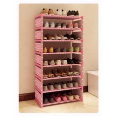 Universal - Rak Sepatu 8 Susun - Pink Polkadot