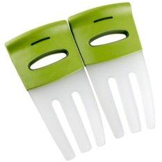 Review Universal Salad Hands With Non Slip Handles Pengaduk Salad Putih Hijau