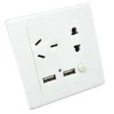 Jual Beli Universal Wallplug Eu China Port And 2 Usb Port With On Off Switch Putih