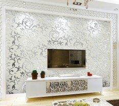 Uotoc Wallpaper Mewah Desain Modern Kilau Logam Cermin TV Wall Living Room Latar Belakang Dinding 3D Kertas Dinding Non-woven Wall Sticker untuk Dekorasi Rumah 10 M UOLMN1 (Warna: Grey)-Intl