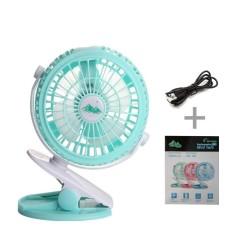 USB Pengisian Kecil Fan Cooling Clip Fan, Variabel Tenaga Angin Mini Bisu Desktop Klip Office Fan (TIDAK TERMASUK BATERAI) Warna: Hijau-Intl
