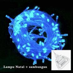 Lampu Hias Natal LED Blue 10 Meter + Colokan Sambungan