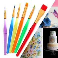 Berguna 6 Pcs Dekorasi Kue Fondant Lukisan Sikat Gula Kerajinan DIY Alat Pemodelan Bunga Aksesori Dapur