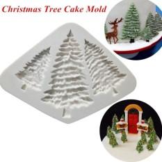 Berguna Tiga Pohon Natal 3D Kue Fondan Silikon Cetakan Memasak Di Dapur DIY Cetakan (Putih