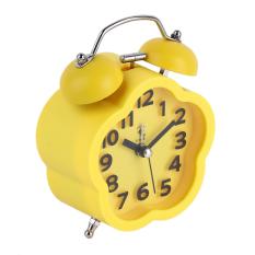 USTORE Pentagram Bentuk Pelajar Tempat Bedside Bed Bisu Meja Jam Alarm Lucu E Kuning-Intl