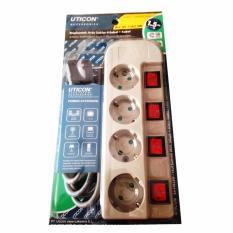 Uticon ST-1482SW Stop Kontak Arde 4 Lubang + 4 Saklar / Switch Kabel 1.5M - Abu-Abu