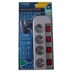 Review Toko Uticon St 1482Sw Stop Kontak Arde 4 Lubang 4 Saklar Switch Kabel 1 5M Abu Abu