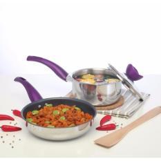 Panci Set Value Kitchen: Set of 3 Basic (Wajan Teflon dan Panci Steinless Tutup Kaca) - Ungu