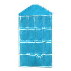 Vanker 16 Kantong Kantong Pintu Dinding Baju Kaus Kaki Cuci Keranjang Gantung Pengatur Tas (Biru