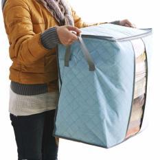Vertical Home Storage Box Organizer Bamboo Charcoal Tas Penyimpanan Baju Selimut Bed Cover [Biru]