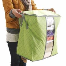 Vertical Home Storage Box Organizer Bamboo Charcoal Tas Penyimpanan Baju Selimut Bed Cover [Hijau]