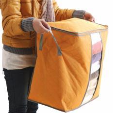 Vertical Home Storage Box Organizer Bamboo Charcoal Tas Penyimpanan Baju Selimut Bed Cover [Orange]