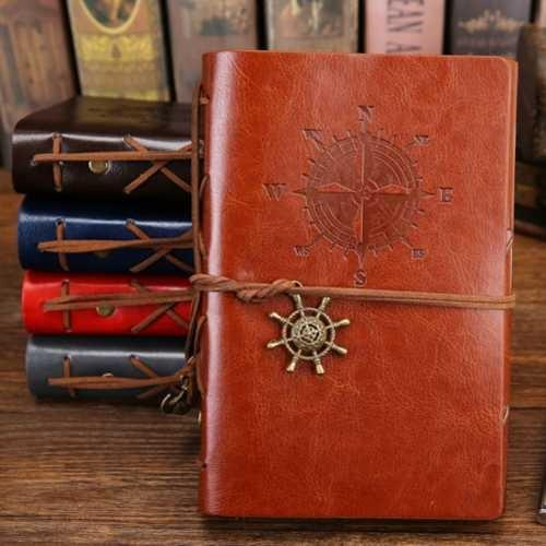 Vienna Linz Buku Catatan Binder Kulit Retro Pirate Kertas A6 Agenda Jurnal Alat Tulis Kantor Sekolah Kuliah Stationary Diary Book Note Journal Paper Classic Klasik Model Pirates Sampul Cover Kulit dan Ring Bisa Diisi Ulang s4564 - Brown