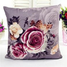 Harga Vintage Art Peony Cotton Linen Melemparkan Bantal Sofa Sarung Bantal Dekorasi Rumah Abu Abu Intl Seken