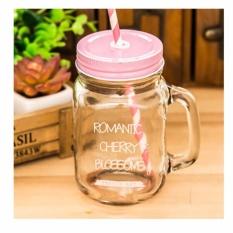 Promo Kaca Hitam Mason Jar Cup Dengan Lubang Jerami Es Krim Buah Gradien Kepribadian Cold Drink Cups Pink Intl Other