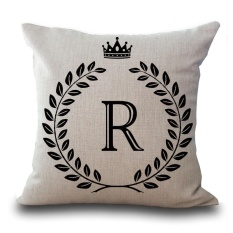 Vintage Linen Cotton Cushion Cover Pillow Case English Letter Concise Style #R - intl