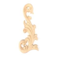 Vintage Wood Carved Corner Onlay Applique Frame Furniture Wall Unpainted For Home Cabinet Door Decoration Crafts #Left - intl