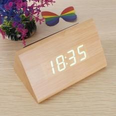 Kontrol Suara Kualitas Bagus Kayu Segitiga LED Alarm Digital Termometer Jam Meja Kayu Kayu Bambu Hijau LED-Intl