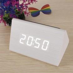 Kontrol Suara Kualitas Bagus Kayu Segitiga LED Alarm Digital Termometer Jam Meja Kayu Kayu Putih LED Putih-Intl
