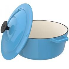 Vremi Enamel Cast Iron Dutch Oven Pot dengan Tutup-Kapasitas 6 Liter untuk Menyiapkan Rendah dan Lambat Memasak Makanan -Electric Gas Induksi Kompor Top Oven Kompatibel Cookware-Deep Besar Ovenproof-Biru-Intl