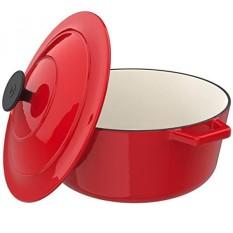 Vremi Enamel Cast Iron Dutch Oven Pot dengan Tutup-Kapasitas 6 Liter untuk Menyiapkan Rendah dan Lambat Memasak Makanan -Electric Gas Induksi Kompor Top Oven Kompatibel Cookware-Deep Besar Ovenproof-Merah-Intl