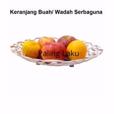 Wadah Keranjang buah / keranjang hantaran fruit basket bulat - silver