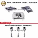 Cuci Gudang Wadah Penyaji Prasmanan Stainless 3 Set Bonus 3 Pcs Sendok Soup Sayur Exclusive
