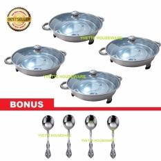 Harga Wadah Saji Prasmanan Stainless Bulat 4 Set Bonus 4 Pcs Sendok Soup Terbaru