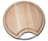 Jual Waikiki Talenan Cutting Board Natural Origin Round Shape With Chrome Handle Grosir