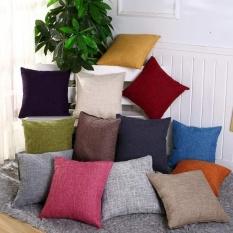 Pinggang Bantal Sederhana Modern Solid Sofa Bed Cushion Cover Cotton Linen-Intl