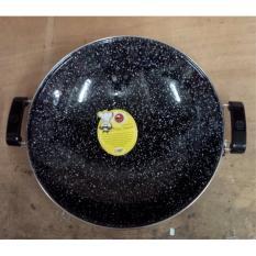 Wajan Anti Lengket Enamel Marble Royal Wok Maspion 35cm - Hitam